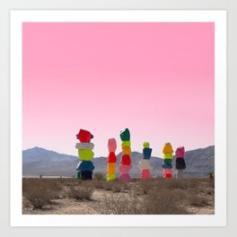 Seven Magic Mountains with Pink Sky - Las Vegas Art Print