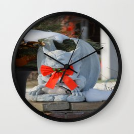 Dashing Gargoyle in Winter Snow - Dressed for the Holiday Season Wall Clock