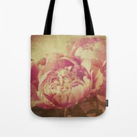 peonies Tote Bags featuring Peonies by V. Sanderson / Chickens in the Trees
