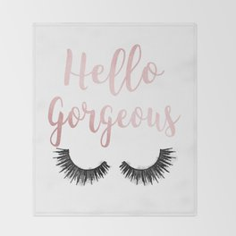 Hello Gorgeous, Lashes, Lash, eyelash, eyelashes, Rose gold, Pink, Watercolor Throw Blanket