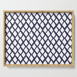 Rhombus White And Blue Serving Tray