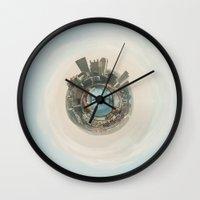 pittsburgh Wall Clocks featuring Pittsburgh Planet by Awkward Ann