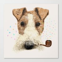 terrier Canvas Prints featuring fox terrier sailor by dogooder