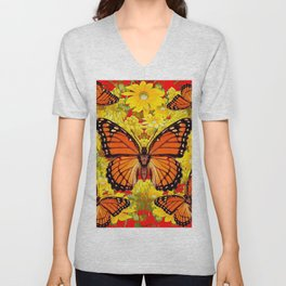 VICEROY BUTTERFLIES & YELLOW FLOWERS RED ART Unisex V-Neck