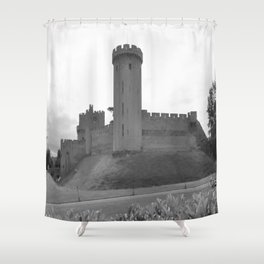 Black and white English Castle Shower Curtain