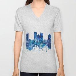 Dhaka Bangladesh Skyline Blue Unisex V-Neck