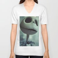 jack skellington V-neck T-shirts featuring Jack Skellington (Nightmare Before Christmas) by LT-Arts