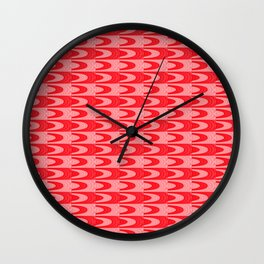 Mid Century Retro Geometric Red & Coral Wall Clock