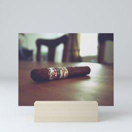 Cuban Cigar on the Wooden Table, Ready to Smoke Mini Art Print