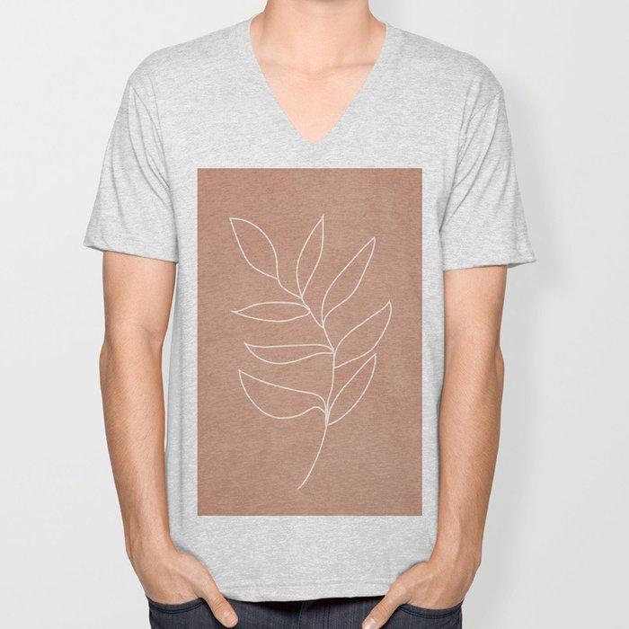 Engraved Leaf Line Unisex V-Neck