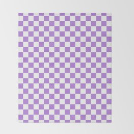 White and Lavender Violet Checkerboard Throw Blanket
