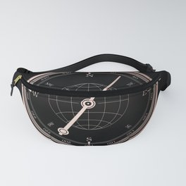 Rose Gold Compass on Black Fanny Pack
