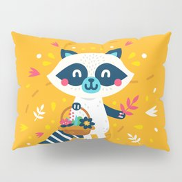 Cute Raccoon Collect Flowes Pillow Sham