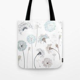 Hand drawn vector dandelions in rustic style Tote Bag