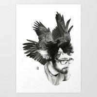 christian schloe Art Prints featuring Christian by Guillem Bosch