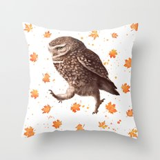 Autumn owl with leaves Throw Pillow