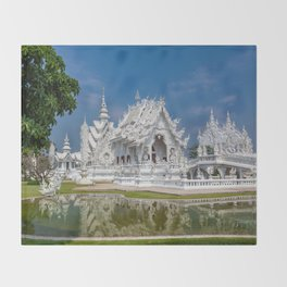 White Temple Thailand Throw Blanket