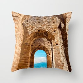 Roman villa, ancient Rome, Sirmione, lake Garda, Grottoes of Catullus Throw Pillow