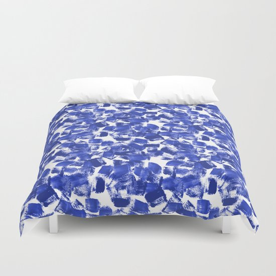 Azia - bright blue painterly abstract brushstrokes painting trendy minimal modern monochrome indigo Duvet Cover