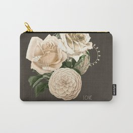 vintage white flowers- love Carry-All Pouch