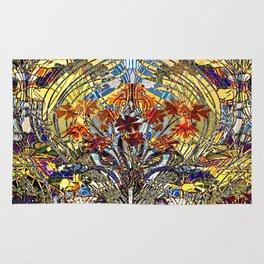 Art Nouveau Stain Glass Floral Rug