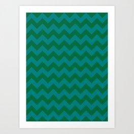 Teal Green and Cadmium Green Horizontal Zigzags Art Print