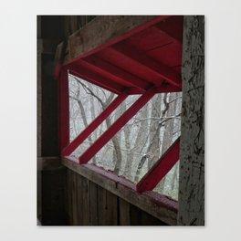 Snowfall Outside a Covered Bridge Canvas Print