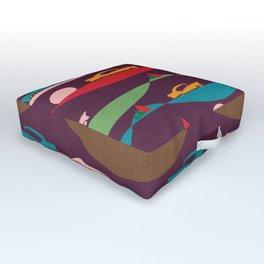 50s Retro Road Trip Purple #midcenturymodern Outdoor Floor Cushion