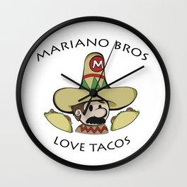 Mariano Bros Love Tacos Wall Clock