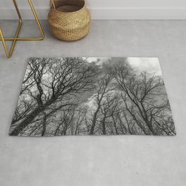 Cloudy day in the woods, black and white Rug