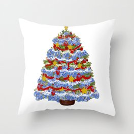Cape Cod Hydrangea Christmas tree Throw Pillow