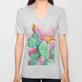 Blooming opuntia cactus Unisex V-Neck