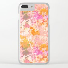 Abstract Paint Splatters Pink & Orange Clear iPhone Case