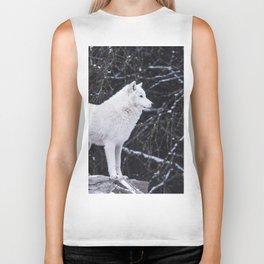 White Wolf Winter (Color) Biker Tank