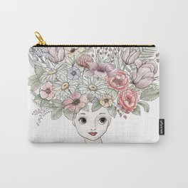 Girl with flowers in her hair... Carry-All Pouch