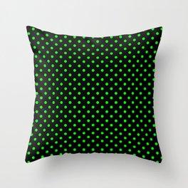Polka dots Green dots over black Throw Pillow