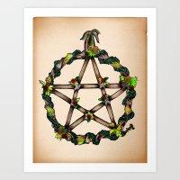 pentagram Art Prints featuring PENTAGRAM GARLAND by Dianah B