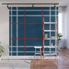 Red, White & Blue Plaid Tartan Pattern Wall Mural
