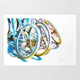 Bicycles Detail Colorful Wheels Art Print