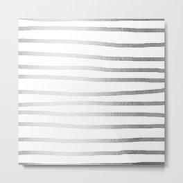 Simply Drawn Stripes Moonlight Silver Metal Print