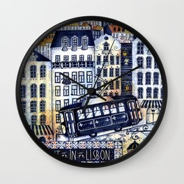 Midnight in Lisbon Wall Clock