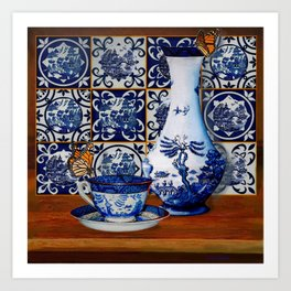 Blue Willow Stillife Art Print