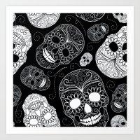 sugar skulls Art Prints featuring Sugar Skulls by Zen and Chic