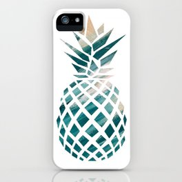 Tropical Teal Pineapple iPhone Case