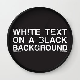 White Text Black Background Wall Clock