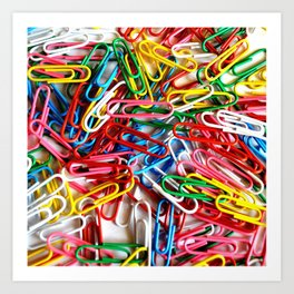 Colorful paper clips on white background. Art Print