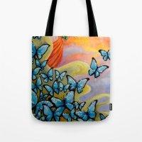 aurora Tote Bags featuring Aurora by Amanda Shelton