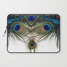 BLUE-GREEN PEACOCK FEATHERS WHITE ART Laptop Sleeve