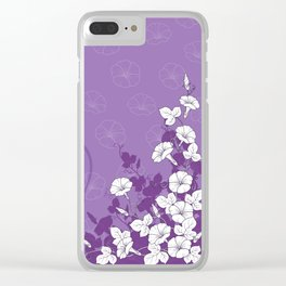 White Morning Glory Flowers with Purple Accents Clear iPhone Case