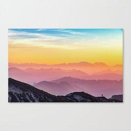 sky blue yellow orange purple Canvas Print